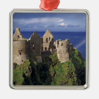 A rainbow strikes medieval Dunluce Castle on Silver-Colored Square Decoration