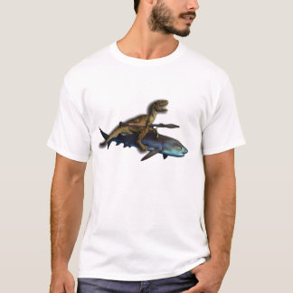 A Raptor Riding a Shark with a Rocket Launcher/Rpg T-Shirt