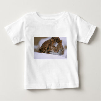 A Rare Amur Leopard Peers Over a Snowy Embankment. Baby T-Shirt
