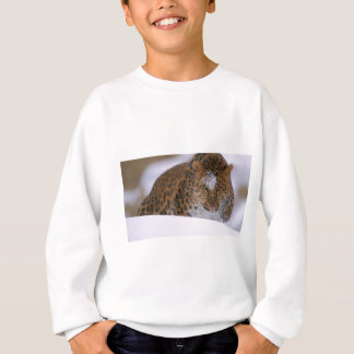 A Rare Amur Leopard Peers Over a Snowy Embankment. Sweatshirt