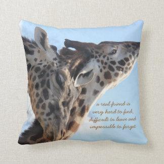 A real friend is..  loving giraffes throw pillow throw cushions