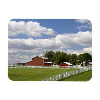 A red barn and farm at Pamona, Kansas. Rectangular Photo Magnet