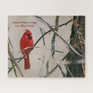 A Red Cardinal Bird on a Branch in the Woods Jigsaw Puzzle