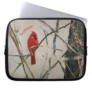 A Red Cardinal Bird on a Branch in the Woods Laptop Sleeve