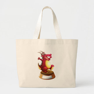 A red dragon with a horn above the empty template jumbo tote bag
