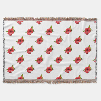 A Red Hibiscus Flower Isolated On White Background Throw Blanket