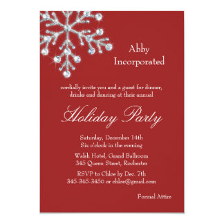 A Red Offset Crystal Snowflake Holiday Invitation