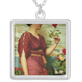 A red, red rose silver plated necklace