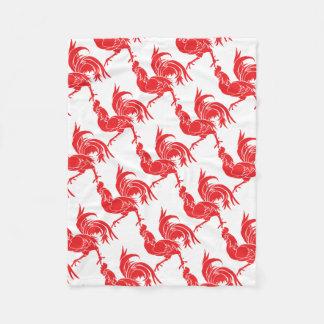 A Red Rooster Fleece Blanket