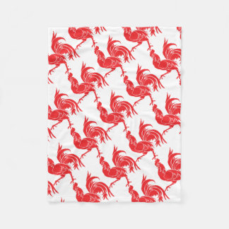 A Red Rooster Fleece Blanket