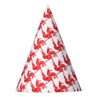 A Red Rooster Party Hat