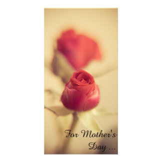 A red rose for the mother… customized photo card
