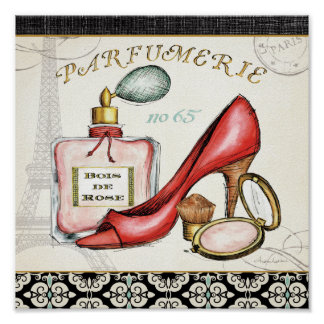 A Red Shoe, A Bottle of Perfume, and Blush Powder Poster