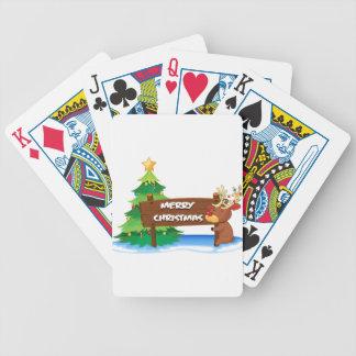 A reindeer hugging the wooden signboard for christ poker deck