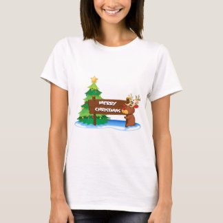 A reindeer hugging the wooden signboard for christ T-Shirt