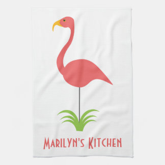 A Retro Pink Flamingo for the Kitchen Tea Towel