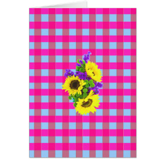A Retro Pink Teal Checkered Sun Flower Pattern. Greeting Card