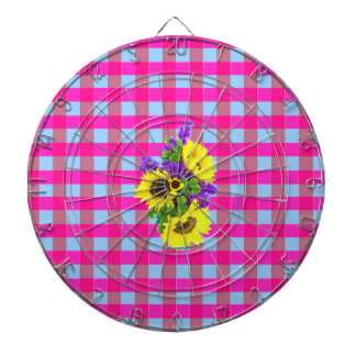 A Retro Pink Teal Checkered Sun Flower Pattern. Dartboards
