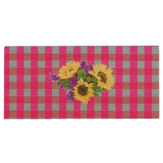 A Retro Pink Teal Checkered Sun Flower Pattern. Wood USB 2.0 Flash Drive