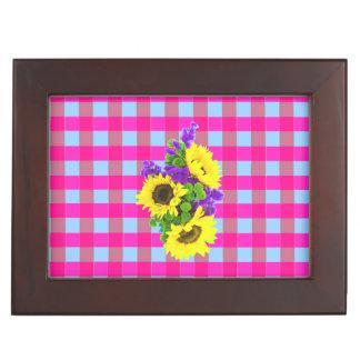 A Retro Pink Teal Checkered Sun Flower Pattern. Keepsake Boxes