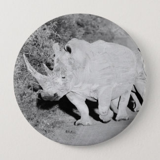 A Rhino mother and her calf in South Africa 10 Cm Round Badge