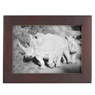 A Rhino mother and her calf in South Africa Keepsake Box
