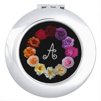 A Ring of Roses with Your Monogram Initial Vanity Mirror