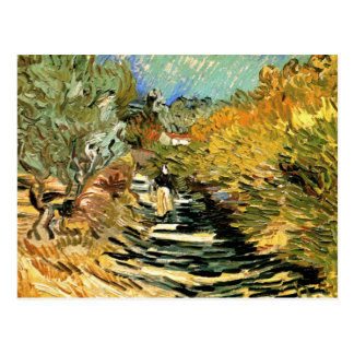 A Road at Saint-Remy with a girl by van Gogh Postcard