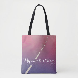 A road with text, designers tote bag