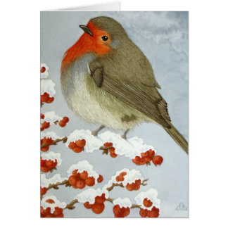 A Robin and berries in the snow Greeting Card