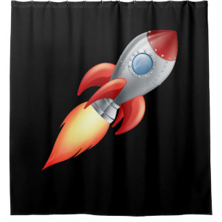 A rocket shooting into space shower curtain