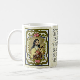 A ROSE FOR ST. THERESE PRAYER COFFEE MUG
