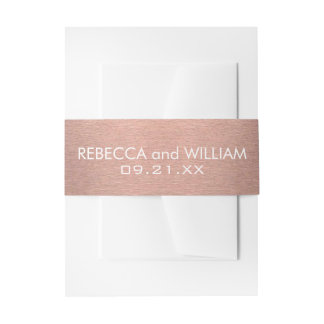 A Rose Gold And Copper Pink Color Modern Wedding Invitation Belly Band