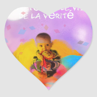 A rose lodges a child in spring heart sticker