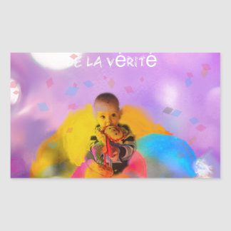 A rose lodges a child in spring rectangular sticker