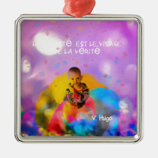 A rose lodges a child in spring Silver-Colored square decoration