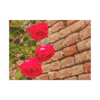 a roses climb on a brick wall canvas