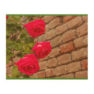 a roses climb on a brick wall wood vall art