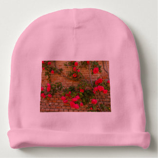 a roses climb on a wall on Baby Cotton Beanie Baby Beanie