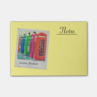 A Row of Brightly Colored Telephone Boxes Post-it Notes