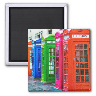 A Row of Brightly Colored Telephone Boxes Square Magnet