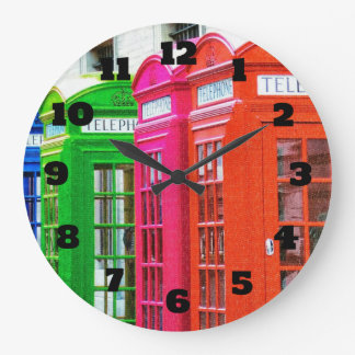 A Row of Brightly Colored Telephone Boxes Wallclocks
