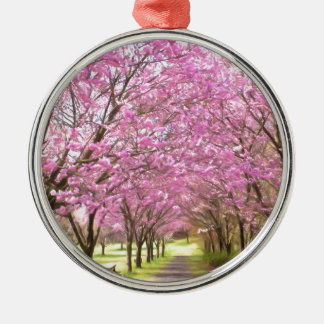 a row of cherry blossom trees metal ornament