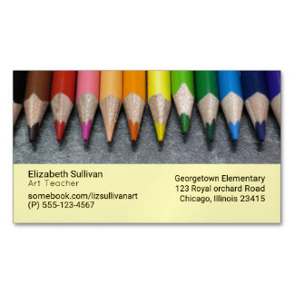 A Row of Colored Pencils. Magnetic Business Card