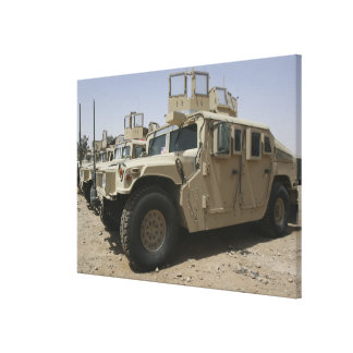 A row of humvees from Task Force Military Polic Stretched Canvas Prints