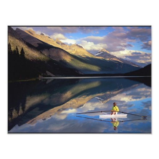 A rower on Banff Lake in the Canada MR) Art Photo