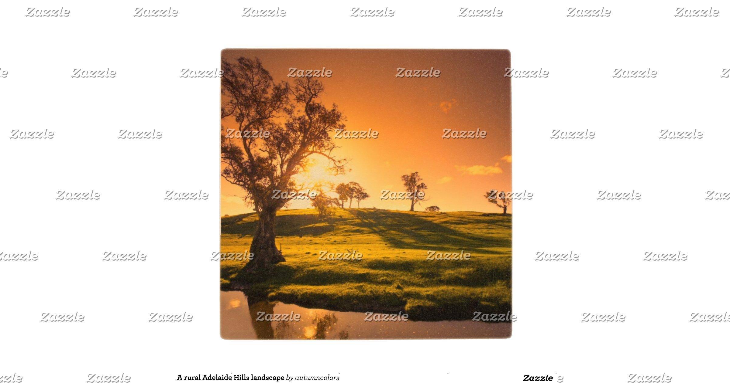 A rural adelaide hills landscape wood coaster zazzle for Landscape design adelaide hills