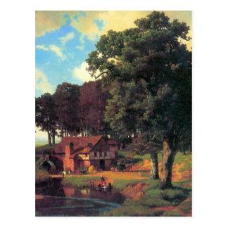 A rustic mill by Bierstadt Postcard