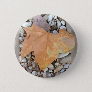 a rusty leaf on pebbles 6 cm round badge