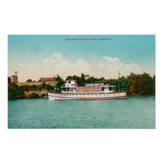 A Sacramento River Scene with a Riverboat Poster
